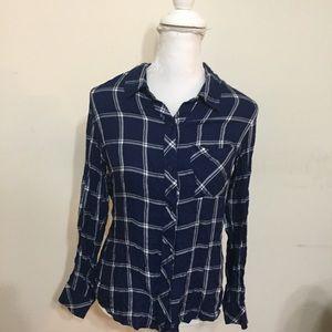 ELAN Women's Sz S Blue White Plaid Shirt Pocket
